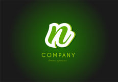 N alphabet letter logo green 3d company  icon design. N alphabet letter hand written hand writing green white logo 3d   creative company icon design template Royalty Free Stock Photo