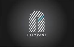 N alphabet line stripe white blue letter logo icon design Royalty Free Stock Images