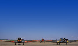 N. American AT-6 Harvards - Group. Vintage war planes - North American AT-6 Harvard, parked on the slipway Royalty Free Stock Photos