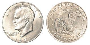 Één Amerikaans dollar muntstuk Stock Fotografie