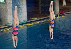 N. Aminieva and G. Sitnikova jump Stock Image