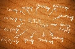N'arrêtez jamais les mots manuscrits d'idée sur un vrai à sable jaune Photographie stock libre de droits
