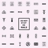 n'arrêtez pas sur l'icône de rails Ensemble universel d'icônes ferroviaires d'avertissements pour le Web et le mobile illustration libre de droits