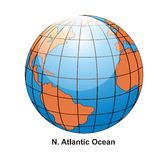 N. Atlantic Ocean Globe Royalty Free Stock Photo