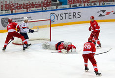 N. Bespalov (31) catch a puck Royalty Free Stock Photography