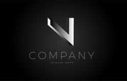N black white silver letter logo design icon alphabet 3d Stock Photos
