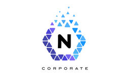 N Blue Hexagon Letter Logo with Triangles. N Blue Hexagon Letter Logo Design with Blue Mosaic Triangles Pattern royalty free illustration