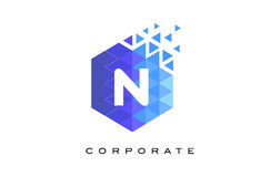 N Blue Hexagonal Letter Logo Design with Mosaic Pattern. N Blue Hexagonal Letter Logo Design with Mosaic Blue Pattern Stock Photo