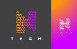 N-bokstav Logo Technology FörbindelseDots Letter Design Vector Arkivbilder