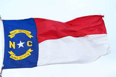 N.C. Flag 01. Flag of North Carolina waving in the wind Royalty Free Stock Images