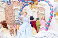 Princess characters of Walt Disney. Are shown in the parade at Hong Kong Disneyland. HONG KONG, CHINA - January 30,2016: Hong Kong Disneyland on January 30,2016 royalty free stock image