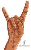 晃动在手边标志,岩石n卷,硬岩,重金属,音乐, d 免版税库存图片