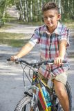 N de zomer, in het bos, een jongen berijdt een fiets op de weg stock afbeeldingen