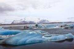 ³ n del rlà del ¡ di JökursÃ: la spiaggia di icerber, di ghiaccio e di freddo Immagini Stock Libere da Diritti