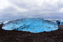 ³ n del rlà del ¡ di JökursÃ: la spiaggia di icerber, di ghiaccio e di freddo Fotografia Stock Libera da Diritti