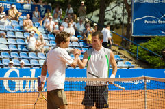 N.Devilder and A.Martin - Porsche Open 2008. Nicolas Devilder (FRA) and Alberto Martin (ESP) after match at Porsche Open 2008. Finals (Challenger Series) held in royalty free stock images