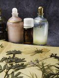 N?dv?ndig olja f?r arom Kosmetisk flaska bland torkade blommor, medicinsk ?rtvariation Naturlig sk?nhetsmedel och skincare som ?r royaltyfri fotografi