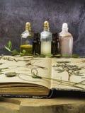 N?dv?ndig olja f?r arom och kosmetisk flaska bland torkade blommor, medicinsk ?rtvariation Naturlig sk?nhetsmedel och skincare so fotografering för bildbyråer