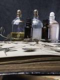 N?dv?ndig olja f?r arom och kosmetisk flaska bland torkade blommor, medicinsk ?rtvariation Naturlig sk?nhetsmedel och skincare so arkivbilder