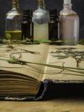N?dv?ndig olja f?r arom och kosmetisk flaska bland torkade blommor, medicinsk ?rtvariation Naturlig sk?nhetsmedel och skincare so royaltyfri fotografi