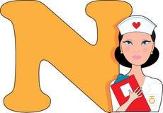 N est pour l'infirmière Images libres de droits