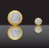 Één euro muntstuk Stock Foto