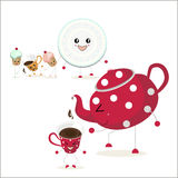 N the foreground a red teapot with white polka dots p. The illustration. In the foreground a red teapot with white polka dots pours tea into the cup. In the Stock Images