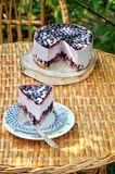 Berry mousse cake. N the garden on the stand, berry cake, mousse stock photo