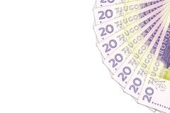 N?gra 20 sedlar f?r svensk krona med copyspace fotografering för bildbyråer