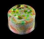 Één grijze cake met bladeren in de herfstkleuren Royalty-vrije Stock Foto