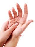 Één hand masseerde andere. Royalty-vrije Stock Afbeeldingen