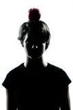 Één jong silhouet van het tienermeisje met een appel Stock Foto