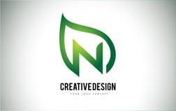 N Leaf Logo Letter Design with Green Leaf Outline Stock Photos