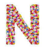 N,  letter of the alphabet in different flowers Stock Images