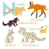 N letter animals set. English alphabet. Vector illustration Stock Images