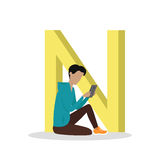 N Letter and Boy Reading E Book. ABC Vector. N letter and boy sitting and reading e book or watching movie isolated. Social network. Alphabet with cartoon vector illustration