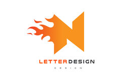 N Letter Flame Logo Design. Fire Logo Lettering Concept. Royalty Free Stock Photos