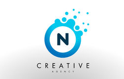 N Letter Logo. Blue Dots Bubble Design Vector Royalty Free Stock Photography
