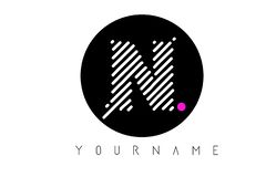 N Letter Logo Design with White Lines and Black Circle stock photography