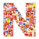 N Letter   made of giftboxes Stock Photography
