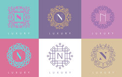 N Letter Pastel Floral Monogram Lines Logo Design. Elegant Linear Cosmetic Beauty Royalty Free Stock Photo