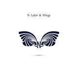 N-letter sign and angel wings.Monogram wing vector logo template Royalty Free Stock Photos