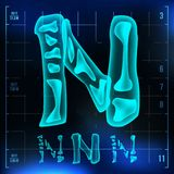 N Letter Vector. Capital Digit. Roentgen X-ray Font Light Sign. Medical Radiology Neon Scan Effect. Alphabet. 3D Blue. Light Digit With Bone. Medical, Pirate vector illustration