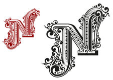N letter in vintage calligraphic Royalty Free Stock Photography