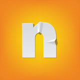N lowercase letter fold english alphabet New design. The new design of the English alphabet, n Lowercase letter was folded paper some of the letters. Adapted Royalty Free Stock Photo