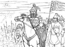 Nômada de Khan Mongolian a cavalo e sua horda ilustração royalty free