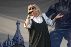 N. Melnik sing a song on Day of the Moscow city. PODOLSK, RUSSIA - SEPTEMBER 9, 2018: N. Melnik sing a song on Day of the Moscow city. Event in Znamya Oktyabrya royalty free stock photography