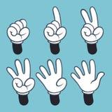 N?meros da m?o Povos das mãos dos desenhos animados na luva, palma dois três da linguagem gestual uma contagem de quatro dedos, i ilustração stock