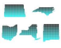 N. Mexico, N. York, N. Carolina, N. Dakota, Ohio royalty-vrije illustratie