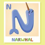 N is for Narwhal. Letter N. Narwhal., cute illustration. Animal alphabet. Royalty Free Stock Photo